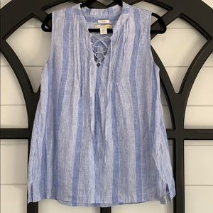 100% linen blue and white striped sleeveless top